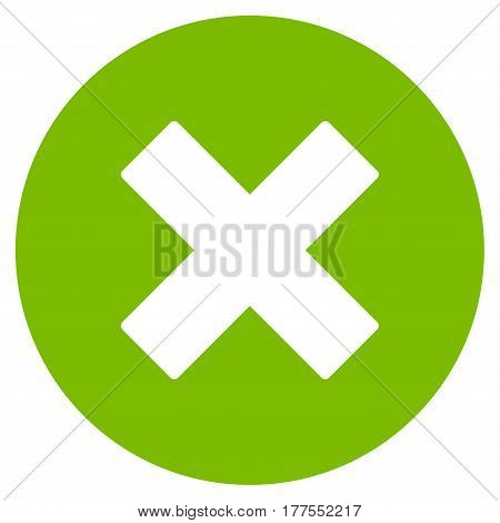 Cancel vector icon. Flat eco green symbol. Pictogram is isolated on a white background. Designed for web and software interfaces.