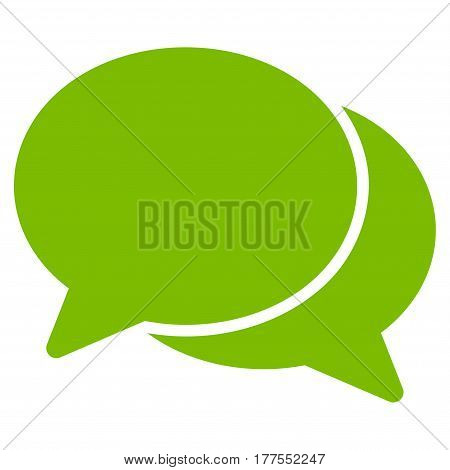 Chat vector icon. Flat eco green symbol. Pictogram is isolated on a white background. Designed for web and software interfaces.