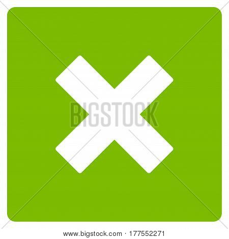 Close vector icon. Flat eco green symbol. Pictogram is isolated on a white background. Designed for web and software interfaces.