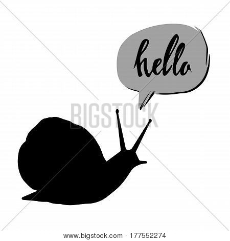 vector ornament snail creeping grass cartoon graphic