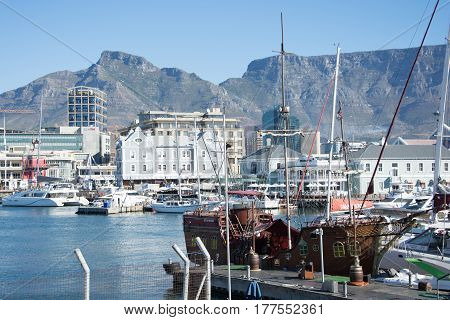 Cape Town South Africa - March 02 2017: The V&A Waterfront in Cape Town with Table Mountain in the background