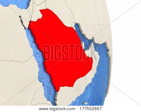 Saudi Arabia On Model Of Political Globe