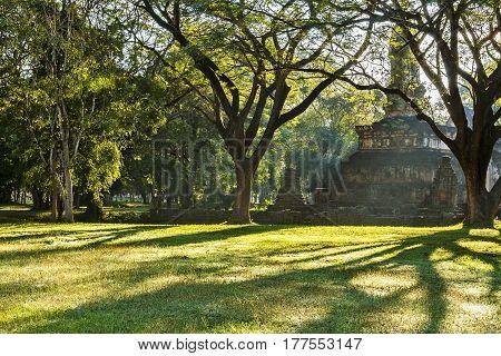 Ancient architecture and light moning at Sisatchanalai Historical Park Sukhothai province Thailand