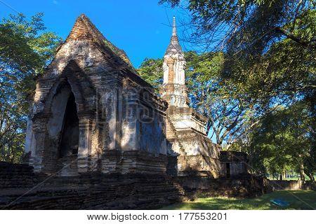 Ancient architecture and soft blue moning at Sisatchanalai Historical Park Sukhothai province Thailand