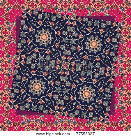 Beautiful unusual ornament. Bandana print. Napkin, handkerchief.