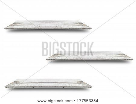 wooden shelf with shadow use for put your products or something isolated on white background.