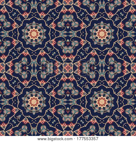 Decorative seamless pattern in moroccan style. Vintage ornament. Beautiful vector illustration. Ceramic tile.