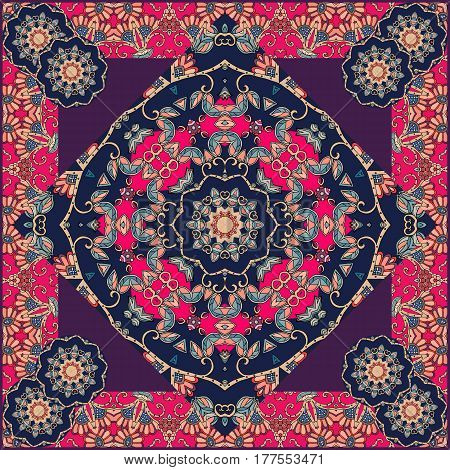 Unusual bandana print in mongolian style with flowers - mandala and beautiful ornament. Lovely tablecloth.