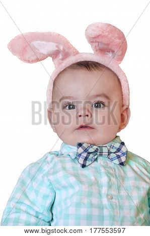 Baby boy toddler closeup with bunny ears, gingham shirt and bow tie on isolated background