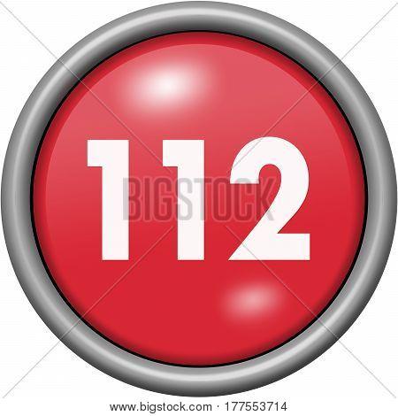 Red Design 112 In Round 3D Button