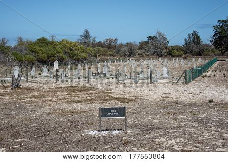 Cape Town South Africa - March 03 2017: Robben Island leper graveyard