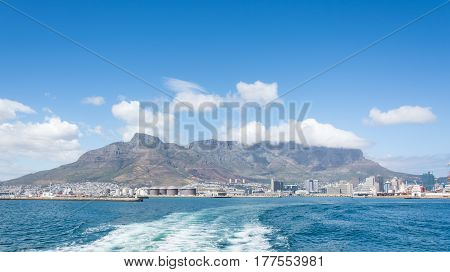 Cape Town South Africa - March 03 2017: Table Mountain as seen from boat outside the harbour