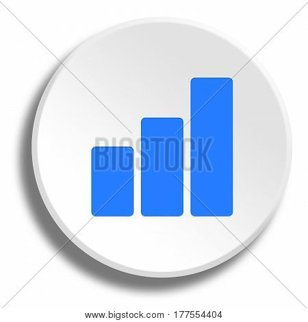 Blue Curve In Round White Button With Shadow