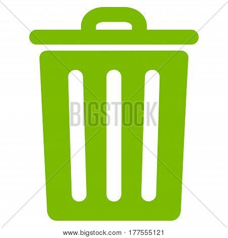 Dustbin vector icon. Flat eco green symbol. Pictogram is isolated on a white background. Designed for web and software interfaces.