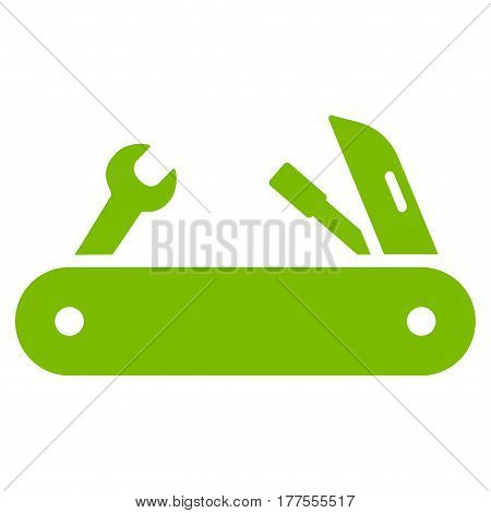 Multi-Tools Knife vector icon. Flat eco green symbol. Pictogram is isolated on a white background. Designed for web and software interfaces.