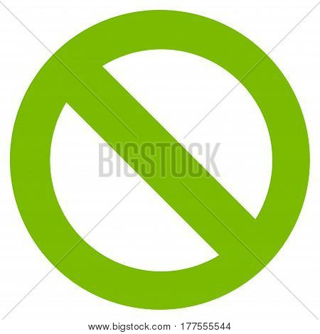 No Sign vector icon. Flat eco green symbol. Pictogram is isolated on a white background. Designed for web and software interfaces.