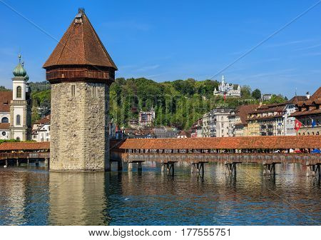 Lucerne, Switzerland - 7 May, 2016: view along the Reuss river. Lucerne is a city in central Switzerland, it is the capital of the Swiss canton of Lucerne and the capital of the district of the same name.