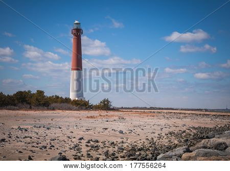 Barnegat Lighthouse, off the Atlantic coast in New Jersey, on a crisp spring day