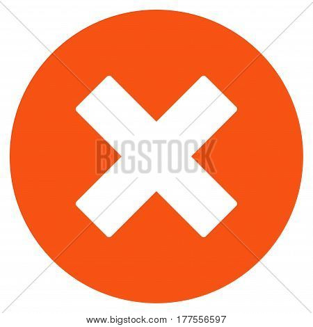 Cancel vector icon. Flat orange symbol. Pictogram is isolated on a white background. Designed for web and software interfaces.