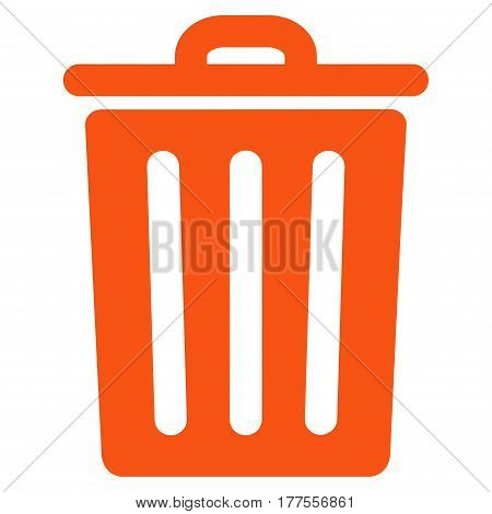 Dustbin vector icon. Flat orange symbol. Pictogram is isolated on a white background. Designed for web and software interfaces.