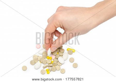Hand Of Young Girl Holding Pills