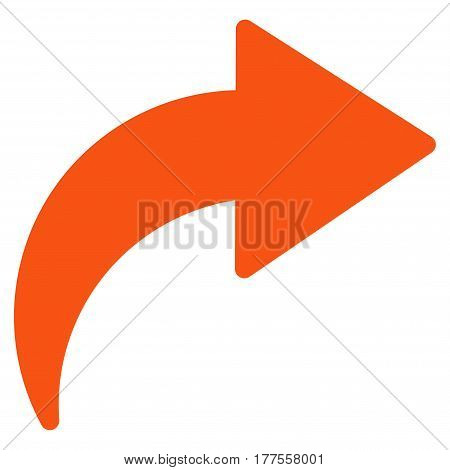 Redo vector icon. Flat orange symbol. Pictogram is isolated on a white background. Designed for web and software interfaces.