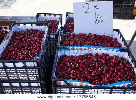 Cherry on Sunday market in Spain, Mercadillo de Campo de Guardamar