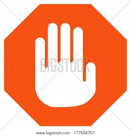 Terminate vector icon. Flat orange symbol. Pictogram is isolated on a white background. Designed for web and software interfaces.