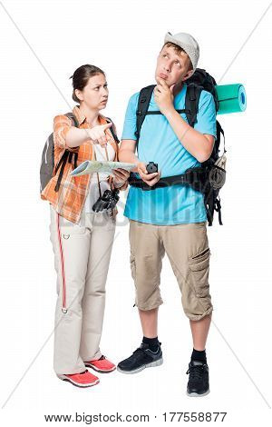 More Lost Perplexed Tourists With Backpacks And Map On A White Background