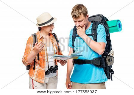 Bustling Tourists Think And Discuss The Route With A Map In Hand