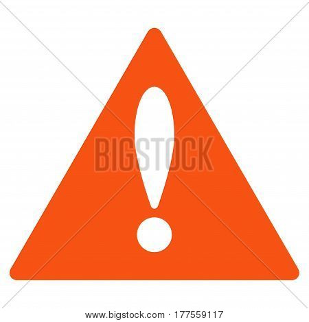 Warning vector icon. Flat orange symbol. Pictogram is isolated on a white background. Designed for web and software interfaces.
