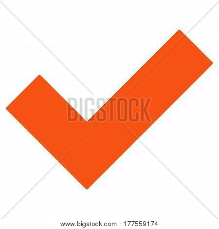 Yes Tick vector icon. Flat orange symbol. Pictogram is isolated on a white background. Designed for web and software interfaces.