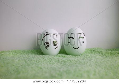 Eggs Are Funny With Faces All Up Head On Green