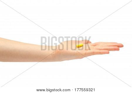 Hand Of Young Girl Holding Pills Homeopathy.