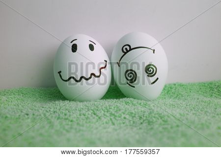 Eggs Are Funny With Faces Concept Of Goosebumps