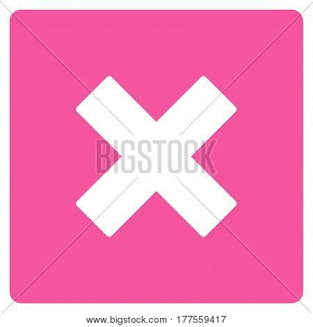 Close vector icon. Flat pink symbol. Pictogram is isolated on a white background. Designed for web and software interfaces.