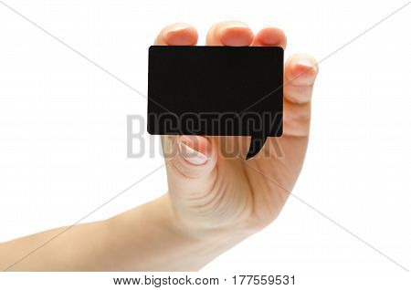 Hand Of Young Girl Holding Speech Bubble.