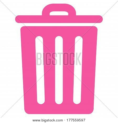 Dustbin vector icon. Flat pink symbol. Pictogram is isolated on a white background. Designed for web and software interfaces.