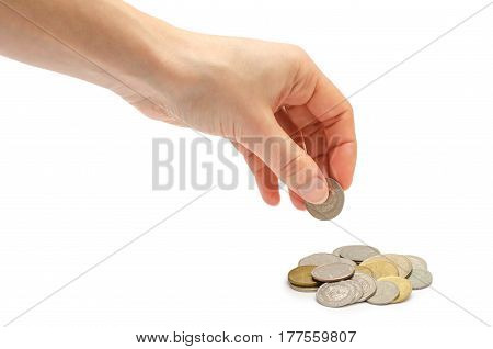 Hand Of Young Girl Holding Coins.