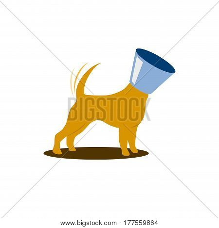 Vector sign happy dog with veterinary collar