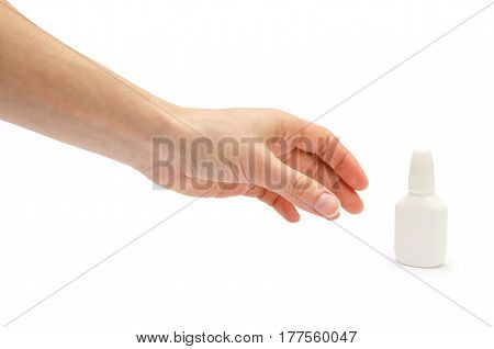 Hand Of Young Girl Holding Nose Or Eye Drops.