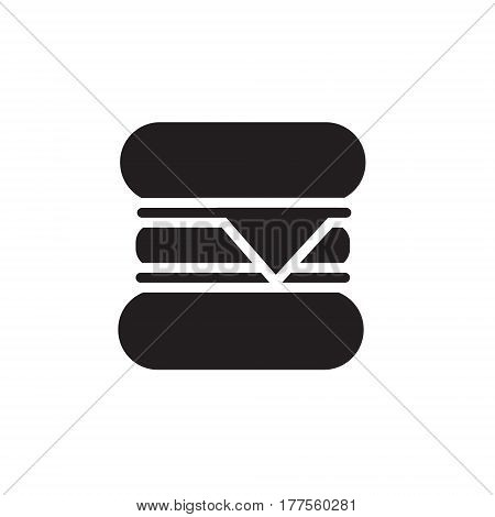 Vector icon or illustration showing fast food cafe with hamburger in one color