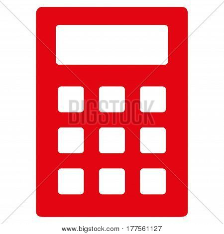 Calculator vector icon. Flat red symbol. Pictogram is isolated on a white background. Designed for web and software interfaces.