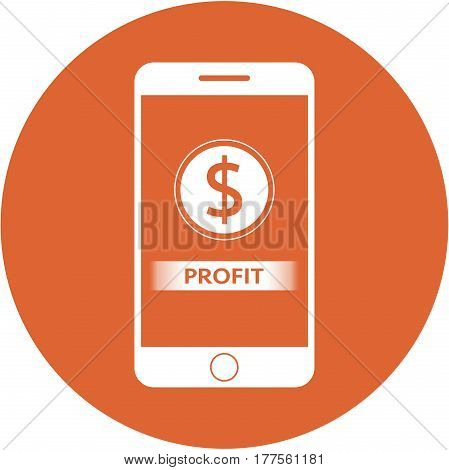 Orange Profit And Dollars Sign Design In A Flat Round Button