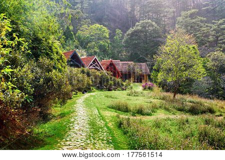 Amazing Rural Landscape. Rustic Houses With Tile Roofs