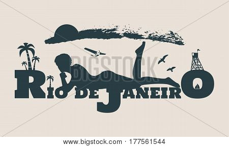 Young woman sunbathing on a beach. Silhouette of the relaxing girl on a Rio de Janeiro text. Vector illustration. Palm and lifeguard tower on backdrop. Aeroplane and birds in the sky