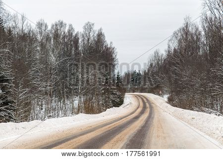 Turn of the road in the winter forest
