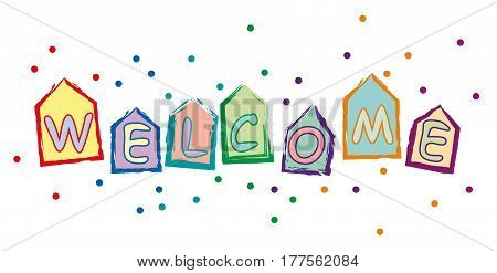 Vector text welcome home school and residence