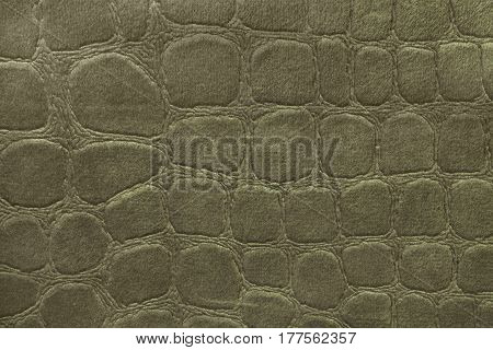 Light green background from a soft upholstery textile material closeup. Fabric with pattern imitating crocodile skin.. Textured backdrop.
