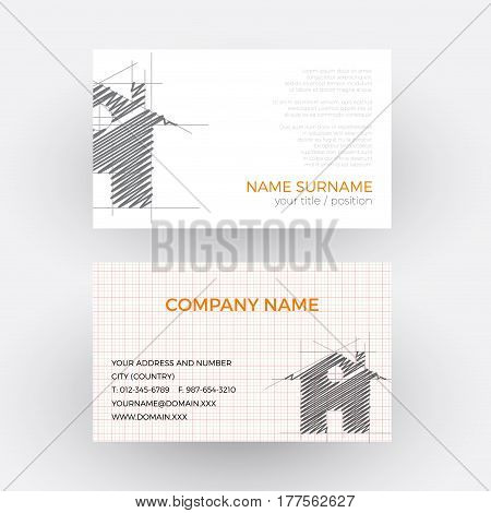 Vector abstract house concept of builder. Business card